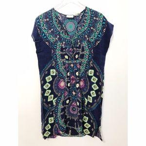 Anthropologie Maeve Medallion Silk Dress Boho